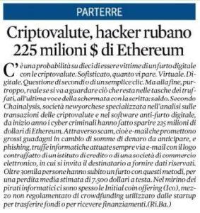 Criptovalute, hacker rubano 225 milioni $ di Ethereum