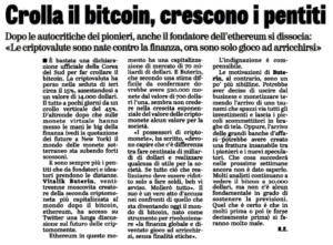 Crolla il bitcoin, crescono i pentiti