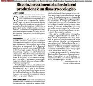 Bitcoin, investimento balordo la cui produzione è un disastro ecologico
