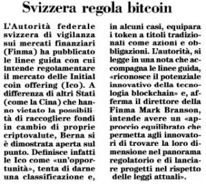 Svizzera regola bitcoin