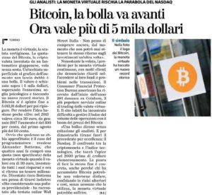 Bitcoin, la bolla va avanti. Ora vale più di 5 mila dollari