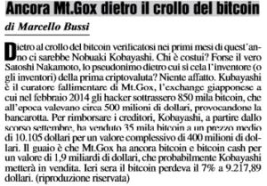 Ancora Mt.Gox dietro il crollo del bitcoin