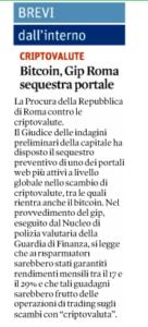 Bitcoin, Gip Roma sequestra portale
