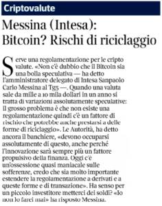 Messina (Intesa): Bitcoin? Rischi di riciclaggio