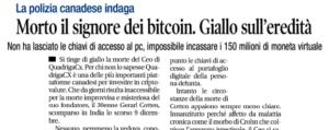 Morto il signore dei bitcoin. Giallo sull'eredità