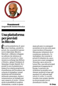 Una piattaforma per previsti in Bitcoin