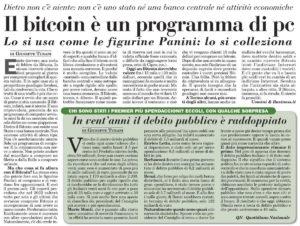 Il bitcoin è un programma di PC. Lo si usa come le figurine Panini: lo si colleziona