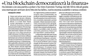 Intervista a Silvio Micali – «Una blockchain democratizzerà la finanza»