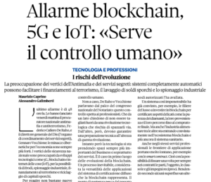 "Allarme blockchain, 5G e IoT: ""Serve il controllo umano"""
