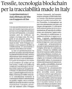 Tessile, tecnologia blockchain per la tracciabilità made in Italy