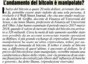 L'andamento del bitcoin è manipolato?