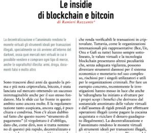Le insidie di blockchain e bitcoin