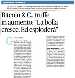 Bitcoin & C.: più truffe finchè esplode la bolla