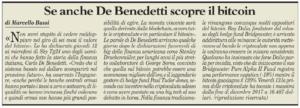 Se anche De Benedetti scopre il bitcoin