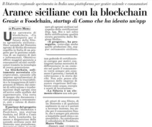 Arance siciliane con la blockchain