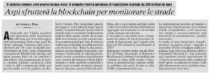 Aspi sfrutterà la blockchain per monitorare le strade