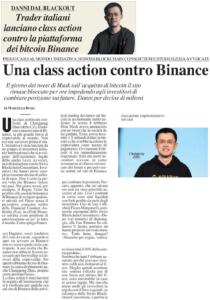 Trader italiani lanciano class action contro la piattaforma dei bitcoin Binance